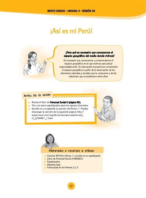 sesiones de aprendizaje de personal social del minedu 2016 documentos primaria sesiones unidad04 sexto grado