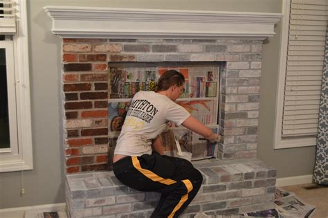 Can You Paint A Fireplace Insert by How To Whitewash Brick Our Fireplace Makeover Loving Here