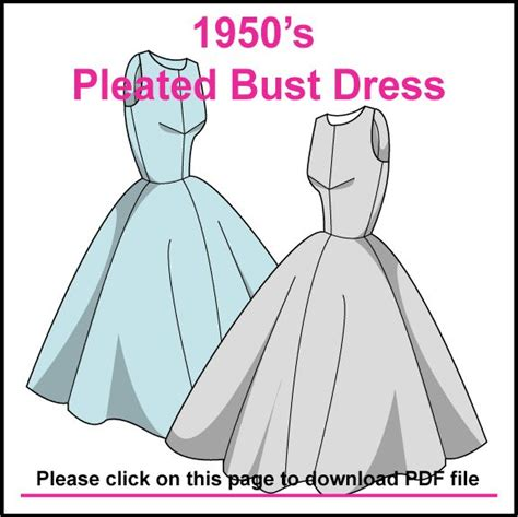 pattern dress free pdf free pattern 1950 pleated bust dress pdf sewing