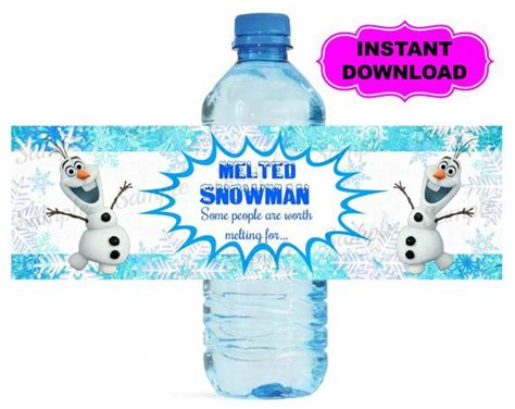 printable olaf water bottle labels frozen bottle label frozen water bottle label instant