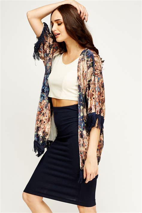 Kimono Top 2 open front velveteen fringed kimono top just 163 5