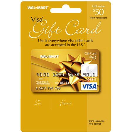 Visa Gift E Card - 50 walmart visa gift card service fee included walmart com