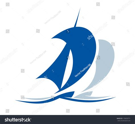 sailboat waves icon blue icon depicting silhouette yacht sailing stock vector
