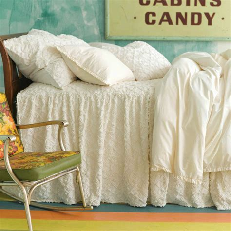 skirted coverlet candlewick dove white gathered skirted coverlet by pine