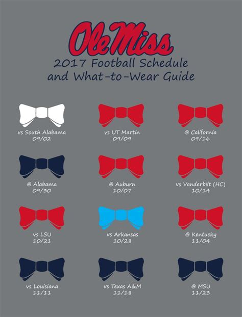 ole miss colors 2017 ole miss football schedule and what to wear guide