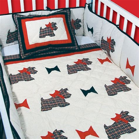 Plaid Crib Set by Scottie Black White And Plaid Quilted 6 Crib Set