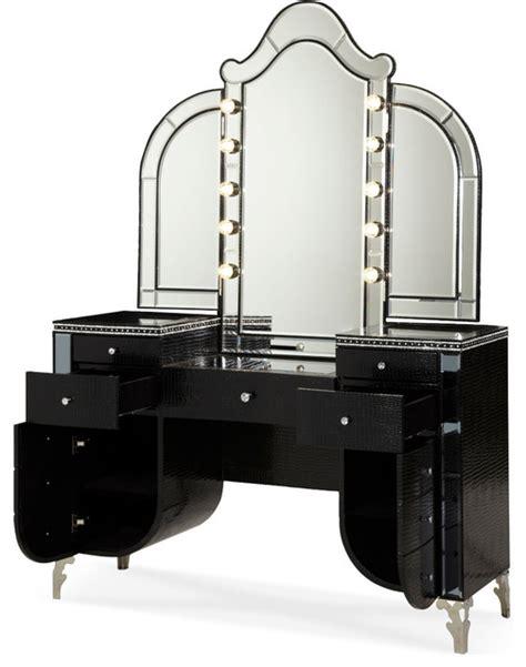 Aico hollywood swank upholstered vanity and mirror black iguana contemporary bedroom