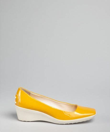 tod s mustard patent leather square toe wedges in yellow