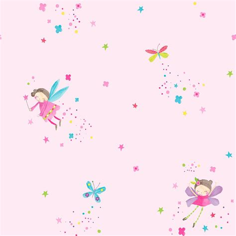 girls chic wallpaper kids bedroom feature wall decor
