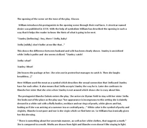 Streetcar Named Desire Essay Questions by Essay Questions Streetcar Named Desire