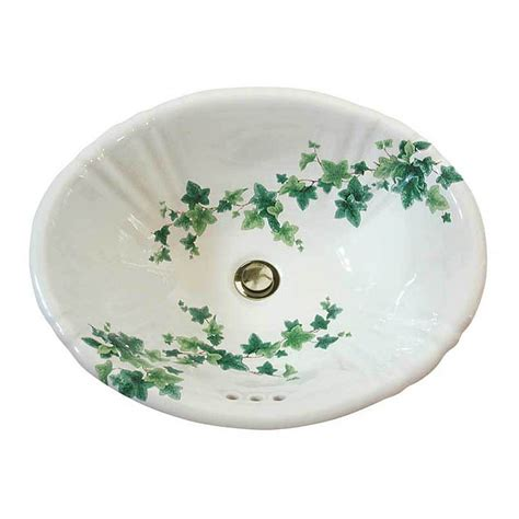 hand painted bathroom sinks ivy fluted painted