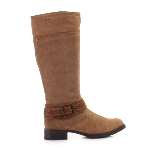 womens xti real suede leather camel flat casual biker knee