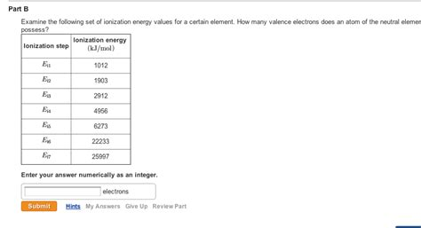 how many place settings examine the following set of ionization energy chegg com