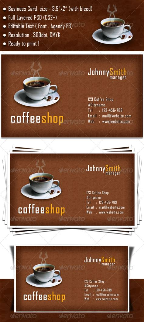 coffee business card template free coffee shop business card graphicriver