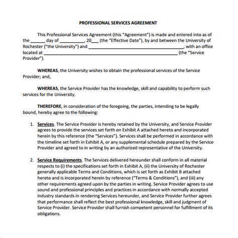 professional contract template professional services agreement template nec3