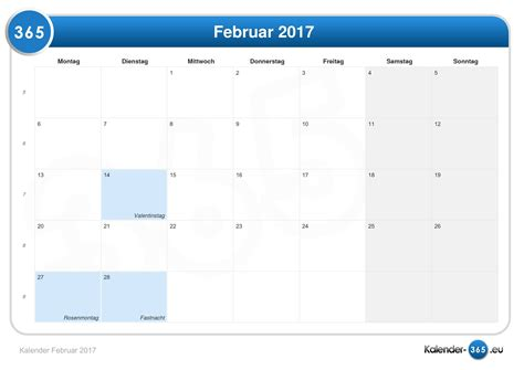 Kalender 2017 Februar Kalender Februar 2017