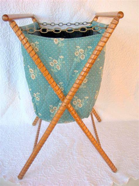 knitting baskets and bags vintage folding standing sewing knitting bag basket blue