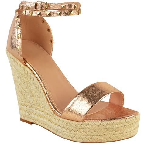 Sendal Wedges Pnc 1 womens studded esapdrille wedges high heel sandals summer platforms size ebay