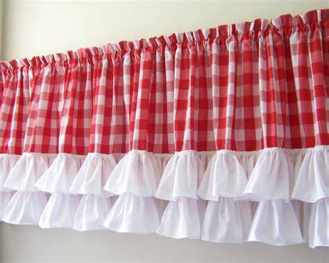 gingham curtains red ruffled valance with red white gingham
