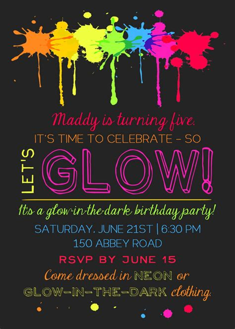 printable glow   dark theme party invitation