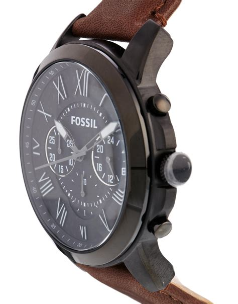 Fossil Black Brown Leather fossil grant brown leather chronograph fs4885 in brown for lyst