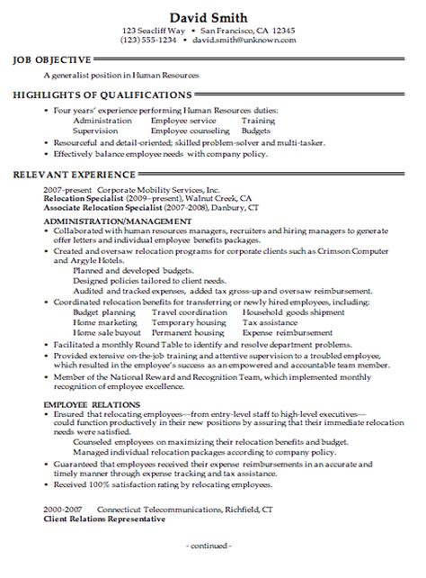 Resume Summary Exles For Career Change combination resume sle human resources generalist pg1