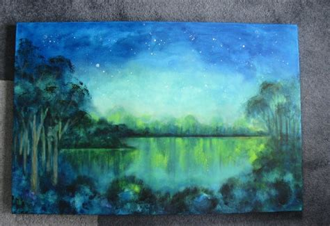 acrylic paint on water original acrylic painting sky water glowing