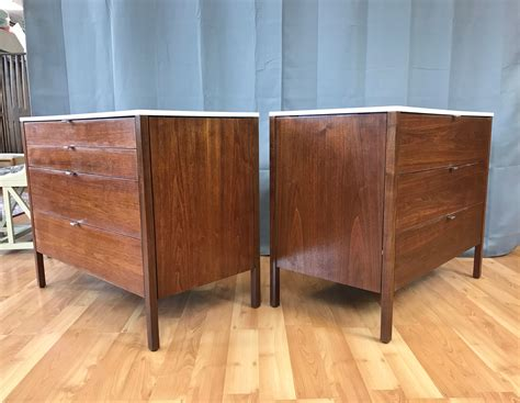 two florence knoll laminate top walnut dressers by knoll