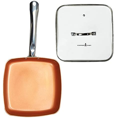 10 Ceramic Skillet With Lid by Copper Chef 9 5 Inch Square Frying Pan With Lid Skillet