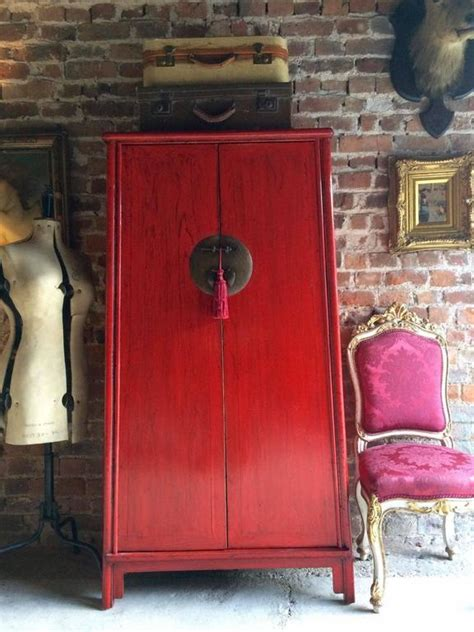 red armoire wardrobe antique style chinese wardrobe armoire red lacquered