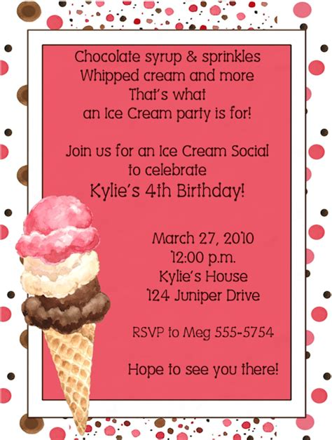 Ice Cream Social Birthday Party Invitations Social Invitation Template