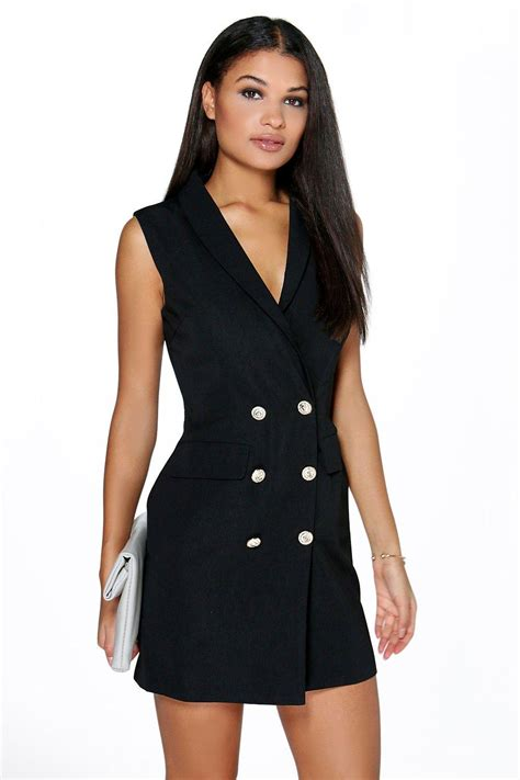 21376 Black Button Style Dress Boohoo Womens Boutique Button Detail Sleeveless