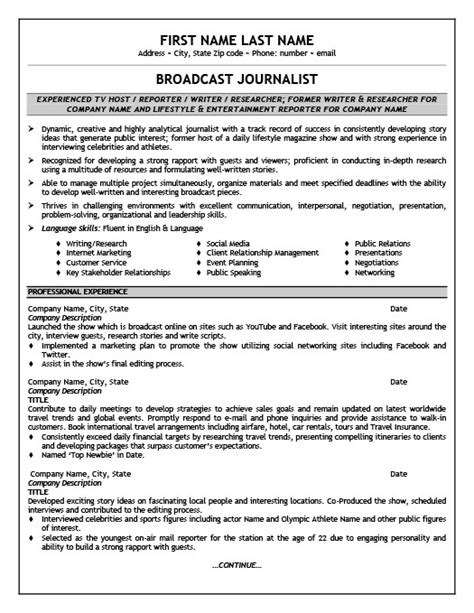 Journalist Resume by Broadcast Journalist Resume Template Premium Resume