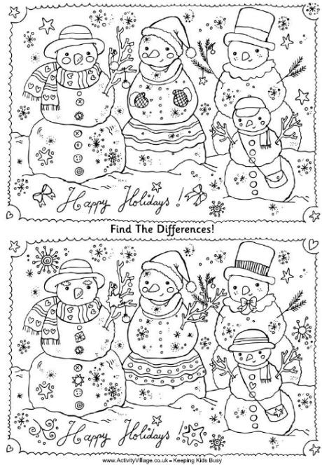snowman hidden pictures printable find the differences puzzle christmas snowmen