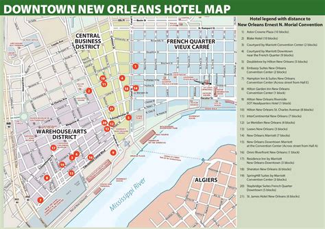 printable french quarter new orleans maps new orleans hotel map