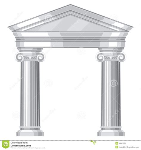 How To Pronounce Idea ionic realistic antique greek temple with columns stock