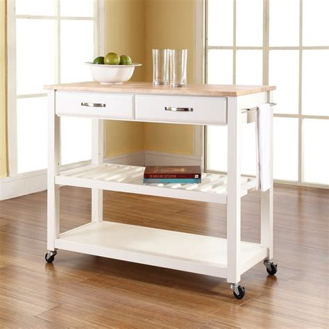 Kitchen Cart Island Shop Crosley Furniture White Craftsman Kitchen Cart At Lowes