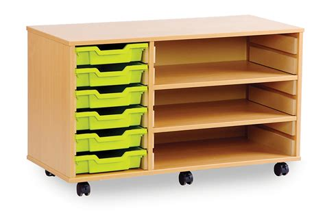 shallow tray classroom storage units with shelves uk made