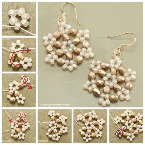 how to make a beaded snowflake how to make beaded snowflake earrings pictures photos