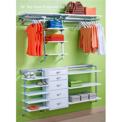 closet top shelf organizer closet organizers 36 top shelf extension kit by