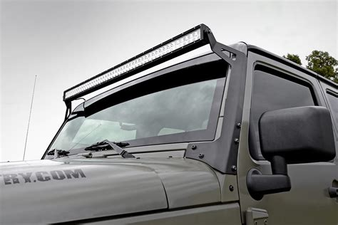 Jeep With Led Light Bar 50in Led Light Bar Windshield Mounting Brackets For 07 17 Jeep Jk Wrangler 70504