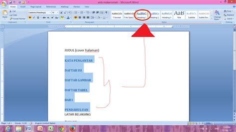 cara membuat halaman di word 2013 otomatis cara membuat daftar isi otomatis daftar gambar daftar