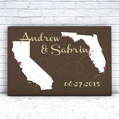 personalized wedding gift customized long distance love love will find a way gallery wrapped canvas state map