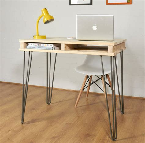 industrial hairpin leg desk reclaimed industrial pallet office desk hairpin legs by