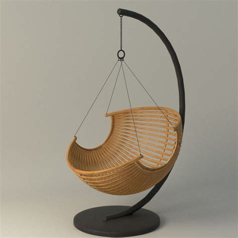 wood hanging chair 3d model max obj fbx ma mb mtl