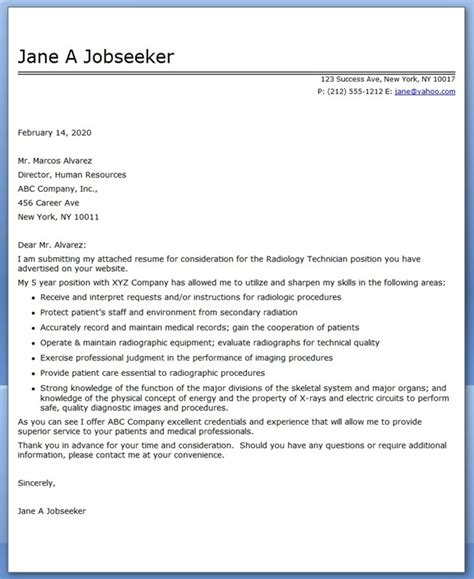 sle cover letter for medical technician cover letter