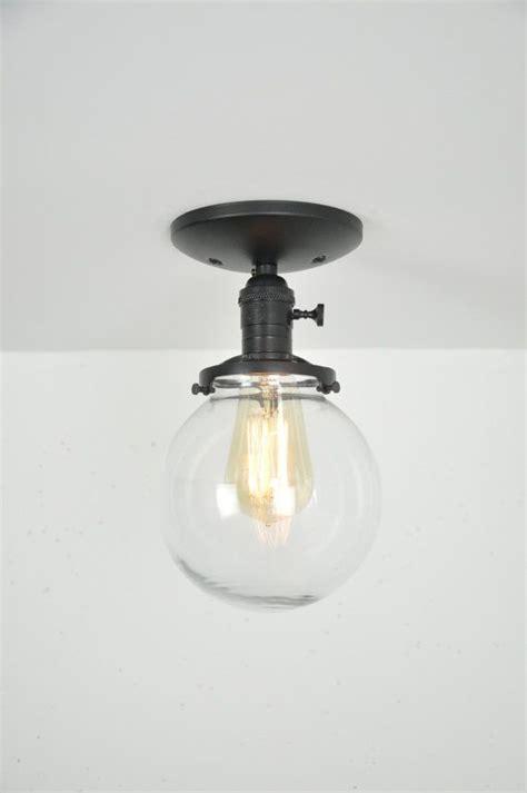 globe flush mount light black glass globe semi flush mount light fixture flush