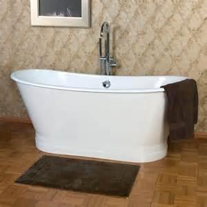68 quot kateryn cast iron bateau tub with plain skirt