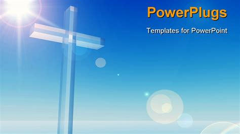 Powerpoint Template A Bluish Background With A Cross 6943 Powerpoint Themes Christian
