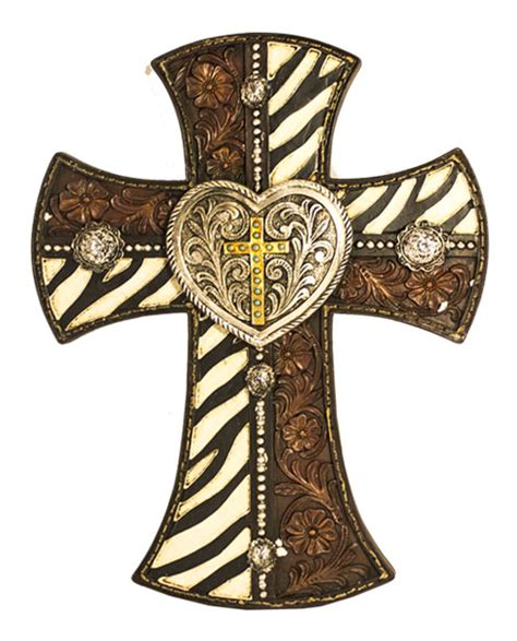 home decor crosses western zebra heart cross home decor wall christian decoration